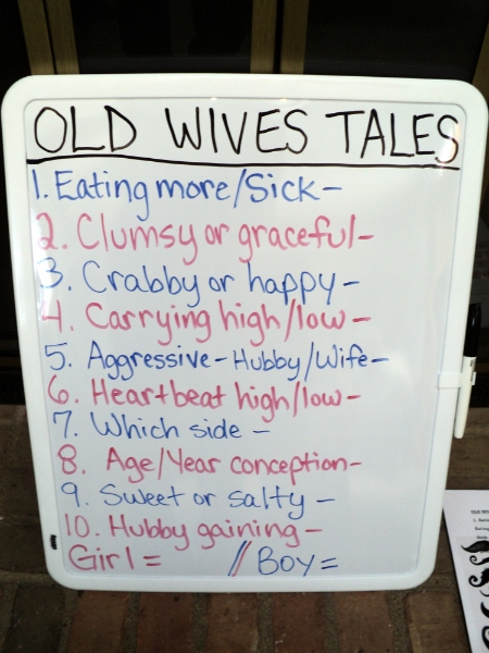 Old Wives Tales game. We did a 10 question quiz.